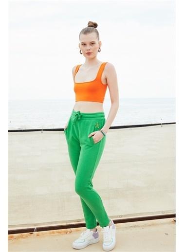 Latin Quarter Deniz Yıldızı Motifli Slim Fit Pantolon Yeşil